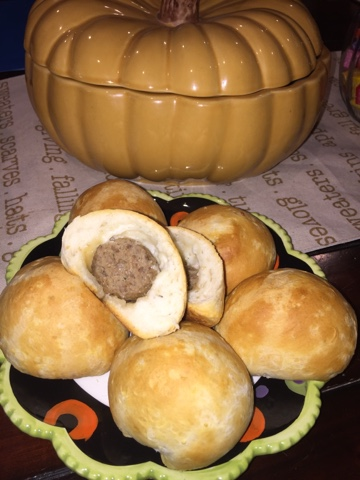 Meatball Stuffed Inside A Biscuit